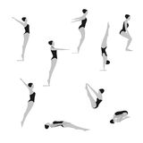 Female Swimming and Diving black and white Vector illustration. Stock Images