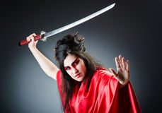 Female sword warrior Royalty Free Stock Images
