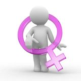 Female symbol. Female 3d abstract human with sign symbol Stock Photography