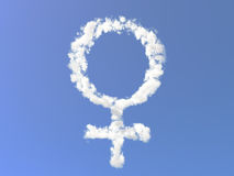 Female symbol from clouds Stock Photos