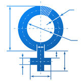Female symbol with dimension lines. Element of blueprint drawing in shape of woman sign. Qualitative vector (EPS-10) illustration about womens biology and health Royalty Free Stock Photos
