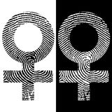 Female symbol fingerprint icon. Black and white design. Two variations. Female symbol fingerprint vector icon. Black and white design. Two variations Royalty Free Stock Images
