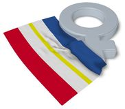 Female symbol and flag of mecklenburg-vorpommern. 3d rendering Royalty Free Stock Photography