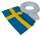 Female symbol and flag of sweden Stock Photo