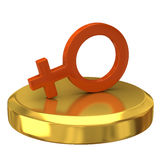 Female symbol on gold podium Royalty Free Stock Photos