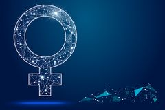 Female symbol. isolated from low poly wireframe on white background. abstract polygonal image mash line and point. for Royalty Free Stock Photos