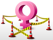 Female symbol located in restricted area. Dangerous woman sign surrounded barrier tape. Qualitative vector (EPS-10) illustration about woman biology and health Stock Photo