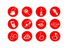 Female symbols. White symbols of subjects of female use on a red background Stock Photos