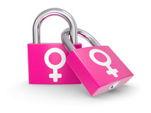 Female Symbols on a lock Stock Photo
