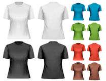 Female t-shirts. Design template. Stock Photos