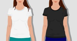 Female t shirts, realistically painted vector illustration