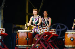 Female taiko drummers Royalty Free Stock Photography