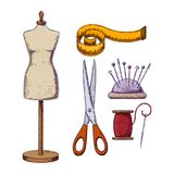 Accessories for needlework. Female tailors dummy and accessories for sewing. Vector Stock Illustration