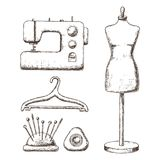 Accessories for needlework. Female tailors dummy, sewing machine, hanger, sketch illustration of accessories for sewing. Vector Royalty Free Illustration