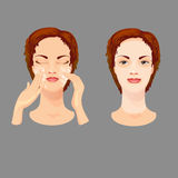 Female is taking care of her face skin. Royalty Free Stock Images