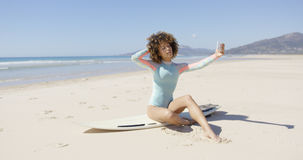 Female taking selfie on sea background Royalty Free Stock Photos