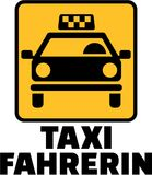 Female taxi driver with yellow cab german. Vector Royalty Free Stock Image