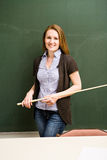 Female teacher. Portrait of a young female teacher in the classroom royalty free stock photos