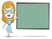 Female Teacher. Artistic rendering of a redhead female teacher pointing to a blank chalkboard Vector Illustration