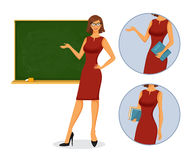 Female teacher with blackboard Royalty Free Stock Photography