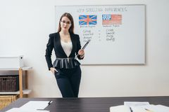 Female teacher with books in classroom English language school. royalty free stock photos