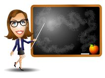 Female Teacher Chalkboard Stock Photo