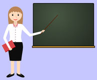 Female teacher at the chalkboard. Teacher leads the lesson. Vector illustration Royalty Free Stock Photos