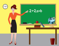 Female Teacher in Classroom Illustration Stock Image