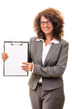 Female teacher woman clipboard isolated Royalty Free Stock Images
