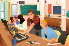 Female Teacher in Computer Class with Students. A vector illustration of Female Teacher in Computer Class with Students Royalty Free Stock Images