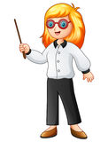 Female teacher holding a pointing stick. Illustration of Female teacher holding a pointing stick Royalty Free Stock Images