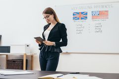 Female teacher looking at camera. English language school. royalty free stock images