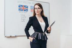 Female teacher looking at camera. English language school. stock photos