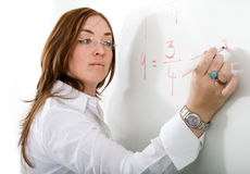 Female teacher on a maths Stock Image