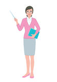 Female teacher with  a pointer and a book Stock Photos