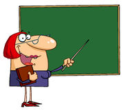 Female teacher pointing to a chalkboard royalty free illustration