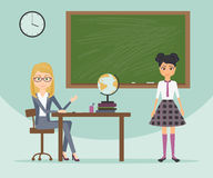 Female teacher and schoolgirl in school uniform. Cartoon vector flat illustration. Educator examines the student. Classroom with chalkboard, teaching desk with Royalty Free Stock Images