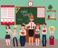 Female teacher standing with students in classroom Royalty Free Stock Photos