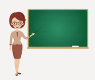 Female teacher stands at the blackboard. Vector. Royalty Free Stock Photo