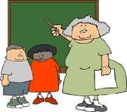 Female Teacher & Students stock illustration