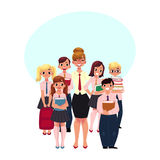 Female teacher surrounded by students, pupils royalty free illustration