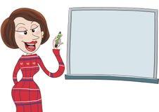 Female teacher at whiteboard or blackboard. Talking Stock Photos