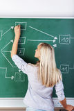 Female teacher writing on the board Royalty Free Stock Image