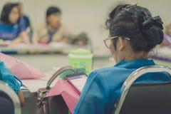 Female teachers meeting for plan teaching stock image