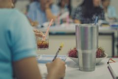 Female teachers meeting for plan teaching in school, Selective f royalty free stock photo