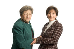 Female team. Female executive team corporate daughter mother with thumbs up stock image
