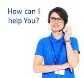 Female technical support operator with headset on white stock photography