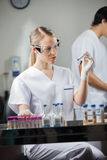 Female Technician Analyzing Blood Sample Royalty Free Stock Image