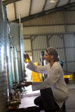 Female technician examining olive oil royalty free stock photo