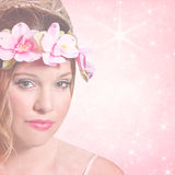 Female Teen Glamour Pink Background Royalty Free Stock Image